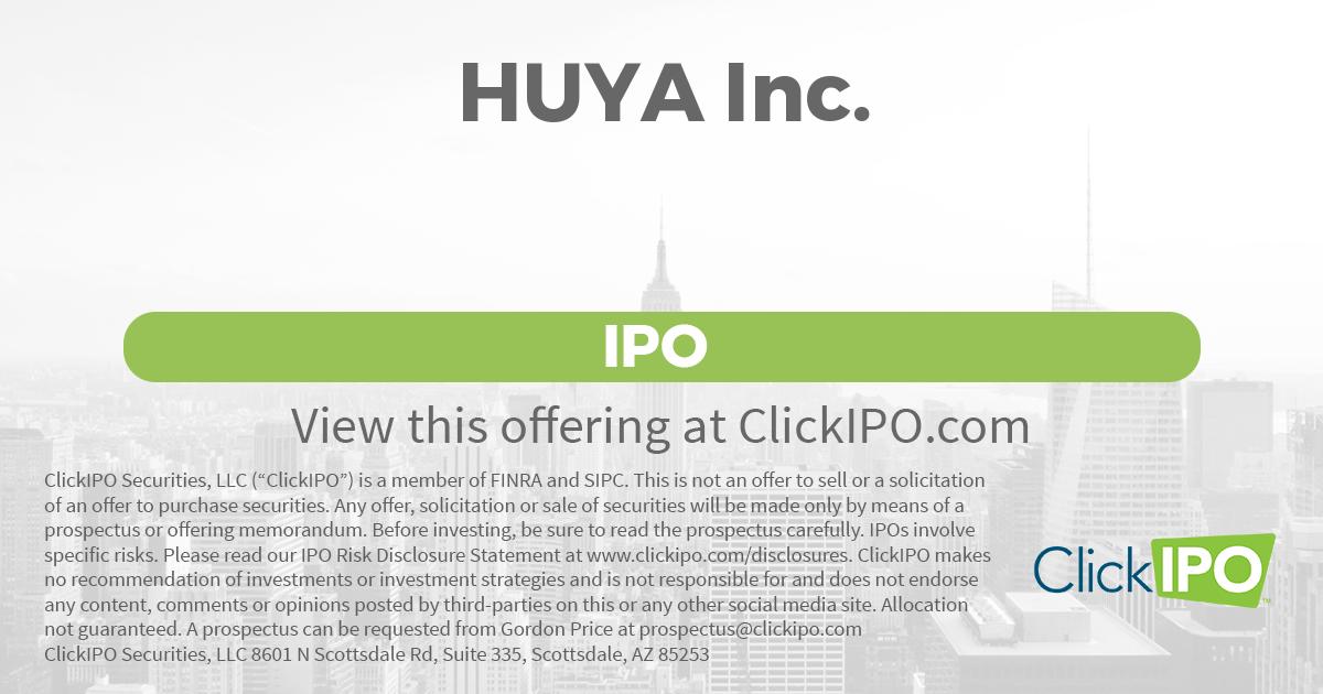 Huya inc announces pricing ipo
